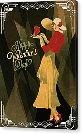 Acrylic Print featuring the digital art Happy Valentines Day by Jeff Burgess