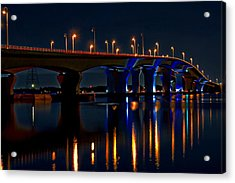 Hathaway Bridge At Night Acrylic Print by Anthony Dezenzio