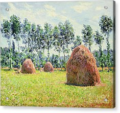 Haystacks At Giverny Acrylic Print by Claude Monet