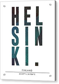 Helsinki, Finland - City Name Typography - Minimalist City Posters Acrylic Print