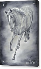Acrylic Print featuring the painting Here She Comes by Cathy Cleveland