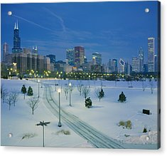 High Angle View Of Snow Covered Acrylic Print