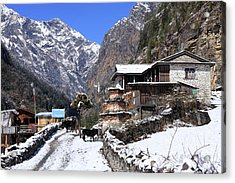 Himalayan Mountain Village Acrylic Print by Aidan Moran