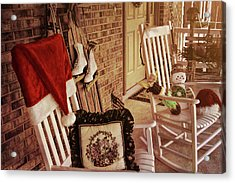 Holiday Porch Decorated Acrylic Print by JAMART Photography