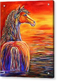 Acrylic Print featuring the painting Horse In Still Waters by Jennifer Godshalk
