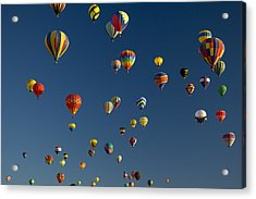 Hot Air Balloons Fly In A Hot Air Acrylic Print by Ralph Lee Hopkins