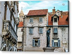 Houses And Cathedral Of Saint Domnius, Dujam, Duje, Bell Tower Old Town, Split, Croatia Acrylic Print