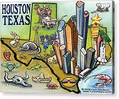 Houston Texas Cartoon Map Acrylic Print