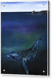 Acrylic Print featuring the mixed media Humpback Whale by Anthony Burks Sr