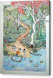 Acrylic Print featuring the painting Hunting For Tadpoles by Josean Rivera