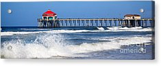 Huntington Beach Pier Panoramic Photo Acrylic Print by Paul Velgos