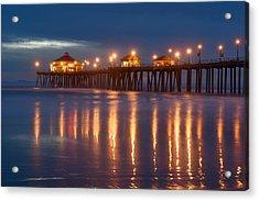 Huntington Beach Pier At Night Acrylic Print by Dung Ma