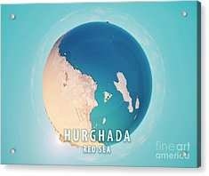 Hurghada 3d Little Planet 360-degree Sphere Panorama Acrylic Print by Frank Ramspott