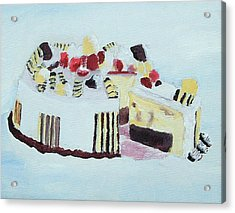 Ice Cream Cake Oil On Canvas Acrylic Print
