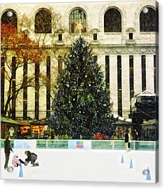 Ice Skating During The Holiday Season Acrylic Print by Nishanth Gopinathan