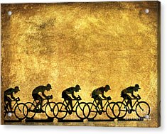 Illustration Of Cyclists Acrylic Print by Bernard Jaubert
