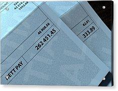 Income Inequality Paychecks Acrylic Print by Allan Swart