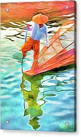 Inle Lake Leg-rower Acrylic Print by Dennis Cox