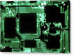 Integrated Circuit Board From A Computer Acrylic Print by Sami Sarkis