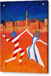 Israel And Usa Dancing Acrylic Print by Jane  Simonson