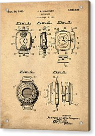 J B Kislinger Watch Patent 1933 Red Acrylic Print