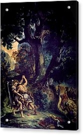 Jacob Wrestling The Angel Acrylic Print