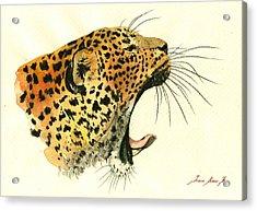 Jaguar Head Painting Watercolor Acrylic Print