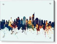Jakarta Skyline Indonesia Bombay Acrylic Print by Michael Tompsett