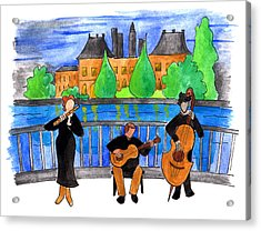 Jazz Trio On Pont Ile Saint Louis Acrylic Print