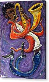 Jazzman Acrylic Print by Jason Gluskin