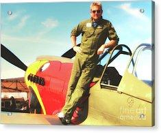 Jc Paul And P-40 Parrothead Reno Air Races 2010 Acrylic Print by Gus McCrea