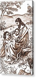 Jesus And The Children Acrylic Print by Norma Boeckler