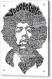 Jimi Hendrix Black And White Word Portrait Acrylic Print