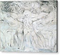 Job And His Daughters  Acrylic Print by William Blake