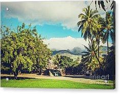 Acrylic Print featuring the photograph Jodo Shu Mission Lahaina Maui Hawaii by Sharon Mau
