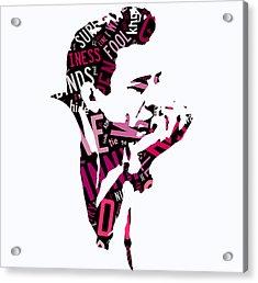 Johnny Cash Song Lyric I Walk The Line Acrylic Print by Marvin Blaine