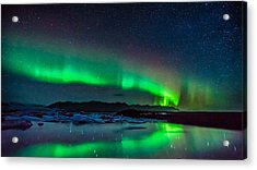 Acrylic Print featuring the photograph Jokulsarlon Aurora by James Billings
