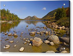 Acrylic Print featuring the photograph Jordan Pond In Autumn by Stephen  Vecchiotti