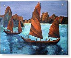 Junks In The Descending Dragon Bay Acrylic Print by Tracey Harrington-Simpson
