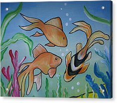 Acrylic Print featuring the painting Just Fishy by Leslie Manley