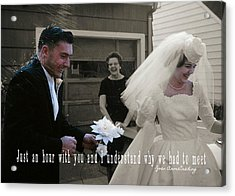 Just Married Quote Acrylic Print by JAMART Photography