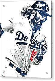 Justin Turner Los Angeles Dodgers Pixel Art Acrylic Print by Joe Hamilton
