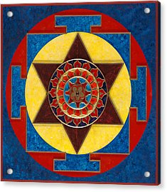 Kameshvari Yantra Blessings Sacred 3d High Relief Artistically Crafted Wooden Yantra  23in X 23in Acrylic Print by Peter Clemens