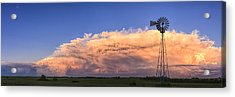Kansas Storm And Windmill Acrylic Print