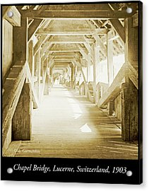 Kapell Bridge, Lucerne, Switzerland, 1903, Vintage, Photograph Acrylic Print