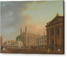 King's Parade - Cambridge Acrylic Print by Thomas Malton The Younger