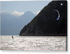 Kite Surfing The Spit In Squamish B.c Canada Acrylic Print by Pierre Leclerc Photography