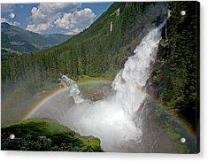 Krimml Waterfall And Rainbow Acrylic Print