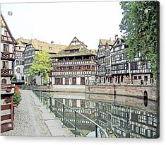 La Petite France Strasbourg France Color Pencil Acrylic Print