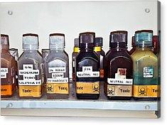 Laboratory Chemicals Acrylic Print by Tom Gowanlock